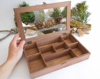 Wooden Tea box with glass display- bamboo jewelry box- keepsake wood box- 8 compartments display box- storage box, unfinished box- herbs box