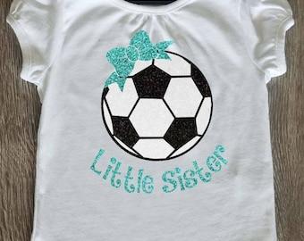 Soccer Little Sister Shirt Glitter Vinyl Personalized