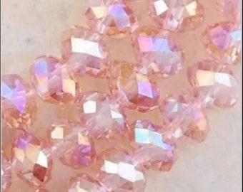 12-8x6mm Pink AB Swarovski crystal, 8mm Pink Swarovski Crystal rondelles, 8mm Pink AB Swarovski Crystal  Rondelles,225 USA