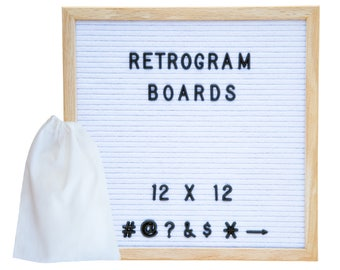 White Felt- Oak Frame Retro Letter Board 12 x 12 inch with 300  Black Helvetica  interchange letters and FREE letter bag