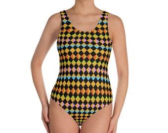 Turkish Kilim 03 Bold Diamond Grid One-Piece Swimsuit
