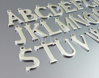 A-Z Whole set of silver alphabets, Initial charms, initial beads, personalized jewelry 1907-BR-Bulk (bright silver, 1 piece of each A-Z)