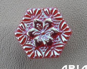 CZECH GLASS BUTTON: 20mm Handpainted Hexagon Cherry Blossom Snowflake Czech Glass Button, Pendant, Cabochon (1)