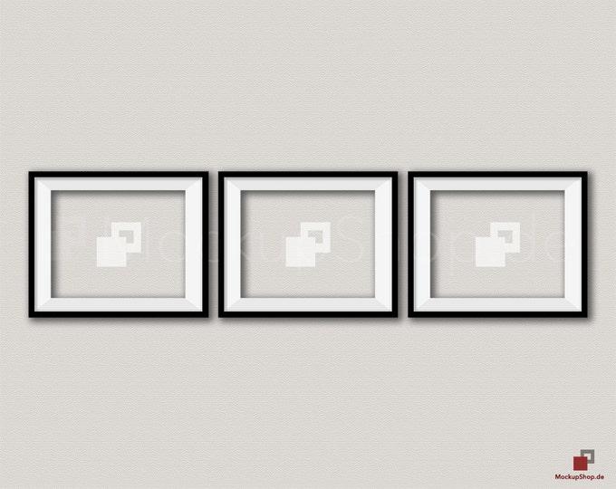 BLACK FRAME MOCKUP / 8x10 / Set of 3 horizontal Black Frame Mockup / Empty Mockup Frame / download Frame Mockup / Instand Download / Mockup