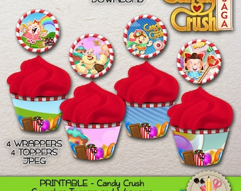 PRINTABLE - Candy Crush - Four (4) sets of Cupcake Toppers & Wrappers - JPEG - 300dpi