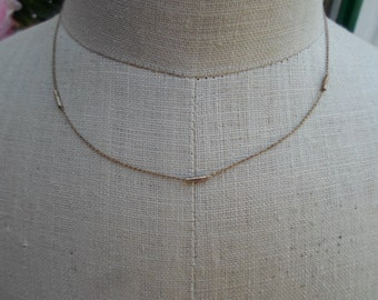 Vintage Gold Filled Chain Dainty Small Tubes 1950s to 1960s NOS Sweet Little Girl/ Teen Necklace
