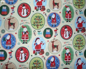 C496 Motifs of Christmas fabric ecru coupon 35x50cm
