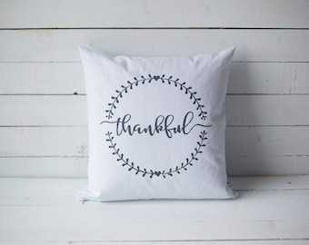 Thankful 18x18 screen printed throw pillow cover home decor