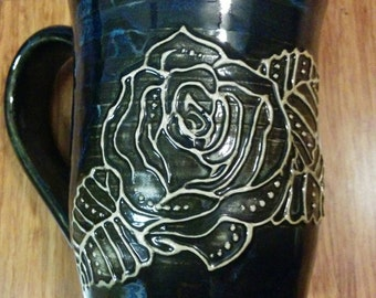 "Key and rose hand-painted ""henna"" mug, handmade ceramic mug , 16 ounce #74"