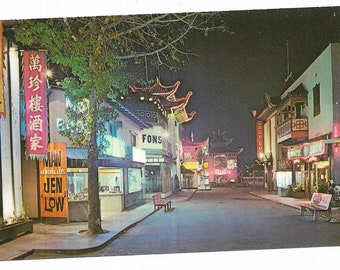 Vintage Western United States California Chrome Postcard Picturesque Chinatown Colorful Night Street Scene UNUSED
