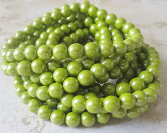 Green Avacado Luster 6mm Round Czech Pressed Glass Druk Beads, 25 Pieces
