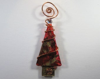 Red and Gold Foil Christmas Tree Ornament