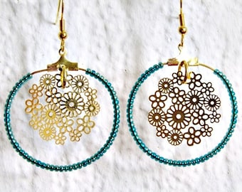 Fancy flower hoop earrings