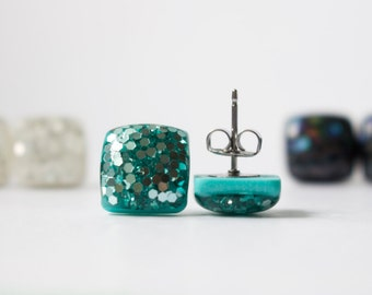 MERMAID GLITTER STUDS. Surgical Steel Posts. teal earrings. teal studs. aqua studs
