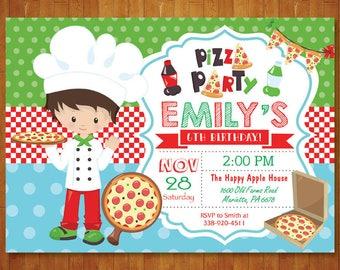 Pizza Birthday Invitation. Pizza Party invitation. Boy or Girl Pizza Birthday Party Invite. Pizza Making. Italian Pizza. Printable Digital.
