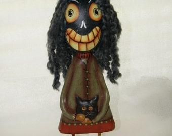 Folk Art Gourd Figure, Witch Haggatha,  Haunted Swamp Halloween Gourd Doll Figure