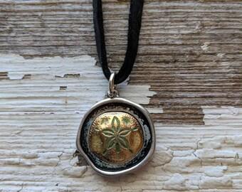 Sandollar Necklace~Leather Necklace~Statement Necklace~Gift For Her~Black Leather Necklace~Boho Jewelry