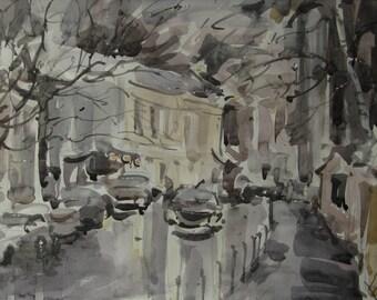 Wet winter - original watercolor