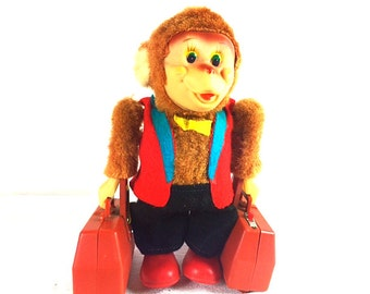 1960's Traveling Monkey Battery operated Toy - Yano Man Japan Toy - Very rare
