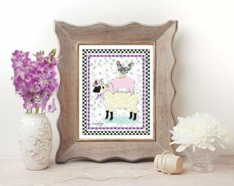 Whimsical Barn Critters Art Print, Black and White Checked, Sheep Pig Hen, Farmhouse Print
