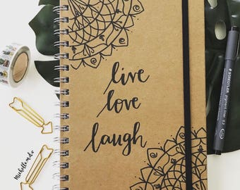 A5 journal diary notebook 'live love laugh' personalised quote book mandala