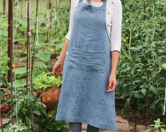 Washed linen apron for women, full apron, 12 colours available