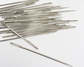 Lot 10 20 50 Long Sharp Sewing Needles, Large Eyed Yarn Darner, Embroidery, Pine Needle Basketry Needle, Teacher's Supply, Sharp Points