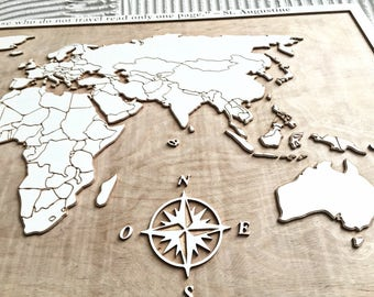 Wooden world map - Wooden map - World map - Wooden wall art - 3D wood art - Map-gift for traveler - Wanderlust gift