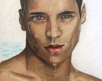 Male Portrait Art Print -8x10 Wall Art. Digital Art from original color pencil
