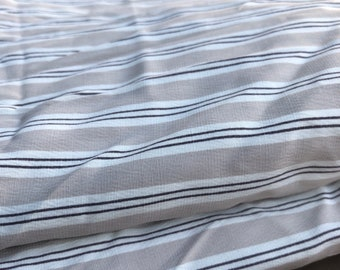 PRECUT 3.5 Yards Striped Rayon and 7% Lycra Spandex Beige White & Black Light-Weight Woven Fabric