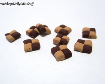 Handmade polymer clay checkerboard cookies dollhouse miniature food 1:6 scale
