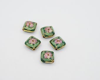 13mm Fluffy Diagonal Shape Cloisonne bead, sold by 10 pcs.