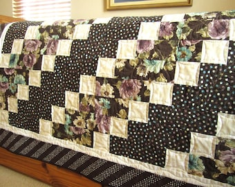 Homemade Quilt, Handmade Quilt, Floral Lap Quilt Home Decor Quilted Throw, Patchwork Brown Floral Quilt, Dots Handmade Gifts Quilts for Sale