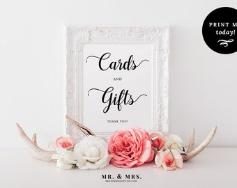 Cards and Gifts Sign, Printable Wedding Sign, Instant Download Gift Table Reception Sign, Calligraphy, PDF, Wedding Printable, MAM202_01