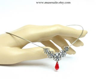 Elf crown in silver with swarovski elements red - Elven tiara - Celtic circlet