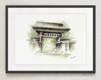 Japanese Old Temple Painting Watercolor Art Landscape Oriental Design