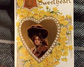 Vintage 1910 To My Sweetheart Valentine Postcard