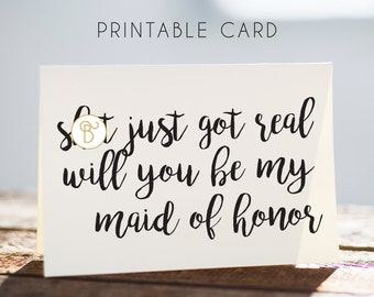 maid of honor, maid of honor card, printable maid of honor card, digital maid of honor card, elegant maid of honor card