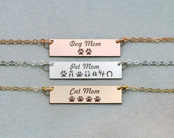 Pet Mom Necklace • Mother's Day Gift • Dog Mom Bar Necklace • Cat Mom Necklace Pet Prints Paw Jewelry Tracks Animal Print Jewelry Mom Gift