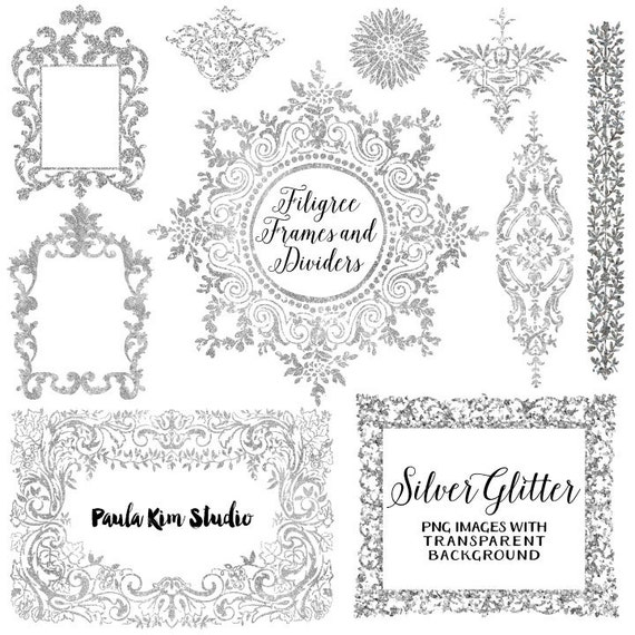 Silver Glitter Digital Frame Flourish Clipart Silver Frames