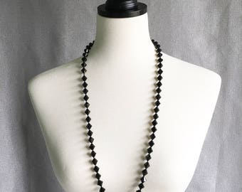 Bicone Black Faceted Vintage Retro Long Black Beaded Neckalce