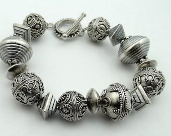 Fantastic Hill Tribe Sterling Silver Bead Toggle Bracelet  #HVYHLL-LB2
