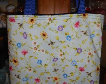 Hummingbird Floral Toss Tote Bag Ivy Vines Birds Book Lunch bag Handmade Purse