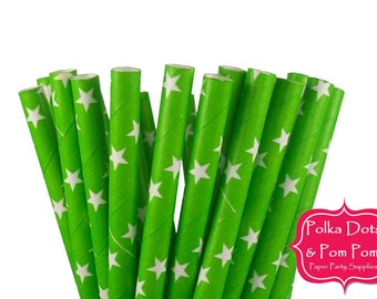 25 GREEN and WHITE Stars Paper Drinking Straws / Retro Kids Party Supplies / Wedding