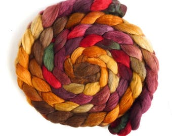 Polwarth/Silk Roving - Handpainted Spinning or Felting Fiber, Amber Waves