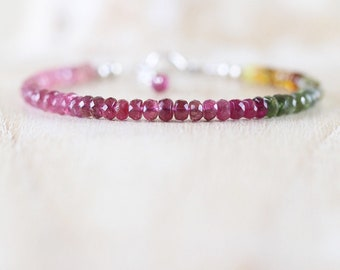Watermelon Tourmaline Beaded Bracelet in Sterling Silver, Rose or Gold Filled. Dainty Pink Gemstone Stacking Bracelet. Boho Layering Jewelry