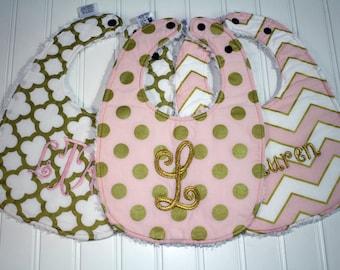Boutique Glitz Girl Baby Bib - Personalized Baby Girl Bib - Gold and Pink Bib, Girl Toddler Bib - Triple Layer Chenille - Monogram Baby