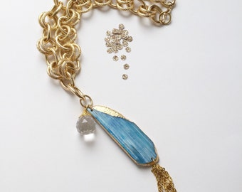 gold leafed blue agate | chunky gold chain necklace | wire wrapped Swarovski crystal | handmade jewelry