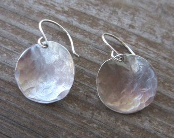 SALE! Silver Disc Earrings, Hammered Silver Earrings (Large)