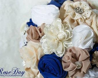 bridal bouquet, bridesmaids bouquets, boutonnieres, wedding wrist corsages, ivory navy bouquet